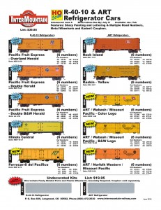 Pacific Fruit Express Rock Island Raskin ART Wabash Missouri Pacific Illinois Central Ferrocarril del Pacifico Norfolk Western Undecorated Kits