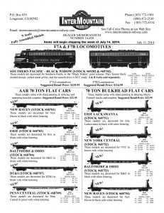 N F7A & F7B Locomotives, N 70 Ton Flat Cars, N 70 Ton Bulkhead Flat Cars