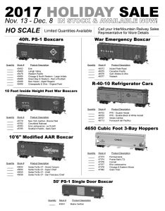 """40' PS-1 Boxcars Post War Boxcars 10' 6"""" Modified AAR Boxcars War Emergency Boxcars R-40-10 Refrigerator Cars 4650 Cu Ft 3-Bay Hoppers 50' PS-1 Single Door Boxcar"""