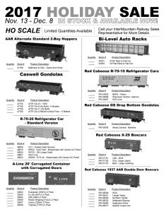 AAR Alternate Standard 2-Bay Hoppers Caswell Gondolas R-70-20 Refrigerator Cars A-Line 20' Corrugated Containers Bi-Level Auto Racks Red Caboose R-70-15 Refrigerator Cars Red Caboose GS Drop Bottom Gondolas Red Caboose X-29 Boxcars Red Caboose 1937 AAR Double Door Boxcars
