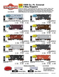 Denver & Rio Grande Western ATSF CB&Q Missouri Pacific Great Northern Frisco Colorado & Southern Chicago & North Western Northern Pacific Missouri-Kansas-Texas Undecorated Kits