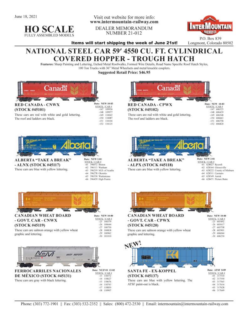 Red Canada Alberta Take a Break Canadian Wheat Board Ferrocarriles Nacionales de Mexico Santa Fe ex-Koppel